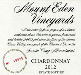 Mount Eden Vineyards Chardonnay Santa Cruz Mountains 2012