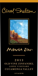 """2013 Carol Shelton """"Monga Zin"""" Zinfandel Cucamonga Valley"""