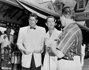 Ronald Reagan, Bob Cummings and Art Linkleter co-host Disneyland's Grand Opening